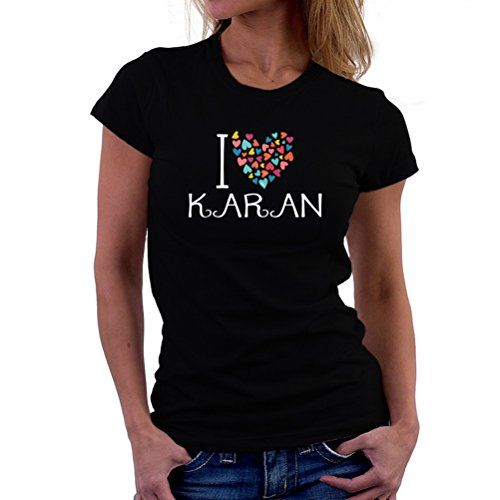 Camiseta de mujer I love Karan colorful hearts