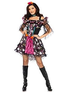 Wonderland W5040605101 Day of The Dead - Disfraz de mujer, multicolor, talla S/M (EUR 36-38)