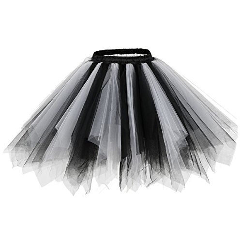 bridesmay Tutu Damenrock Tüllrock 50er Kurz Ballet Tanzkleid Unterkleid Cosplay Crinoline Petticoat für Rockabilly Kleid Black-White XL