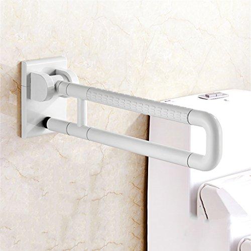 Lyt-handrail En acier inoxydable Old Man Accoudoirs Salle de bain Toilette pliante et vers le bas Handicap handicapé 60cm 75cm (Couleur : Blanc, taille : 60 cm)