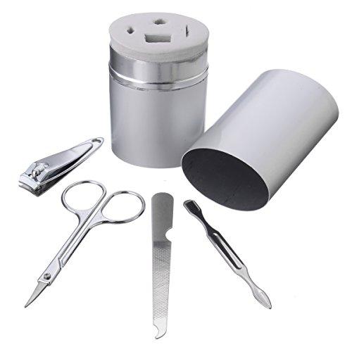 Bluelover 4Pcs Maniküre Werkzeuge Pediküre Nagelschneider Clipper Schere File Nagelhaut Aluminium Box Travel Kit