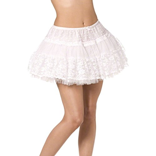 Amakando 50er Jahre Rock Spitzen Petticoat weiß Kurzer Tutu Damenrock Tüll Minirock Sexy Tütü Rockabilly Kostüm Zubehör