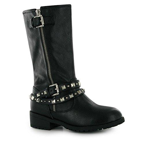 Miso Enfants Ruby Filles Chaussures Bottine Bottes Longues Genoux Hiver Chaud Noir