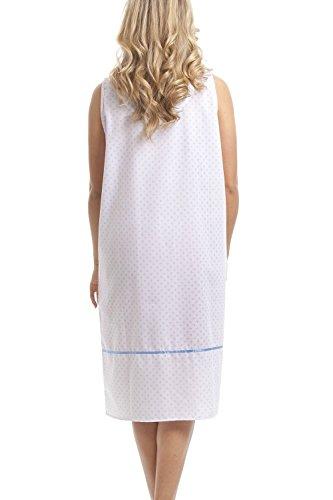 Camille - Camicia da notte donna classica senza manica - Puntini azzurri su sfondo bianco Azzurro