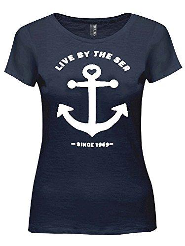 Fleasee Damen Regular Baumwolle T-Shirt Rundhalsshirt Kurzarm Tops Frauen Sommer Kurzarmshirts mit Allover Anker Print