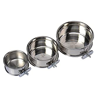 Durable Pet Puppy Dog Parrot Food Water Bowl S M L 14