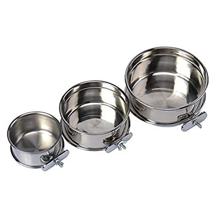 Durable Pet Puppy Dog Parrot Food Water Bowl S M L 1