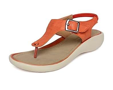 Vendoz Women Elegant Orange Sandals - 36 EU