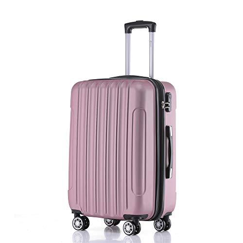 Handgepäck Koffer Hartschalen Trolley Rollkoffer Reisekoffer Mit Schloss Und 4 Rollen Leichtgewicht ABS Koffer Hartschale Für Reisen - Pink- M(2050)