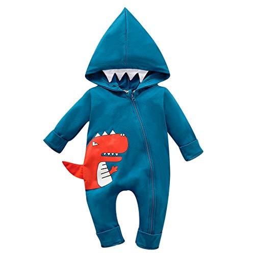 Julhold Infant Neugeborenes Baby Jungen Mädchen Einfachen Cartoon Dinosaurier Mit Kapuze Spielanzugoverall Outfits 0-24 Monate