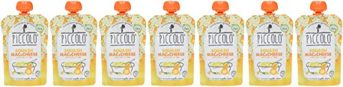 Piccolo Organic Squash Mac and Cheese Puree - Stage 2 Baby Food, 130 g (Pack of 7)