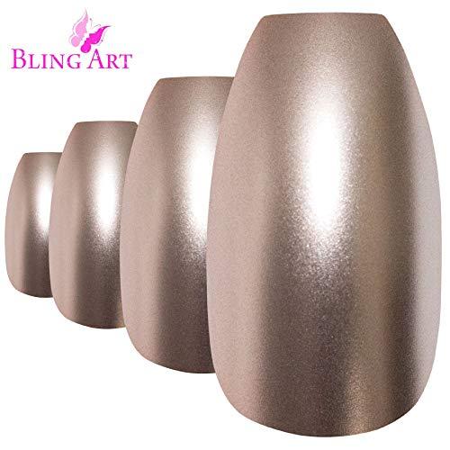 Faux Ongles Bling Art Beige Métallique Ballerine Cercueil 24 Longue Faux bouts d'ongles acrylique avec colle