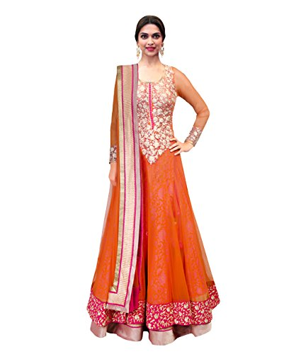 1 Stop Fashion Orangemi Stitched Net Anarkali Salwar Suit