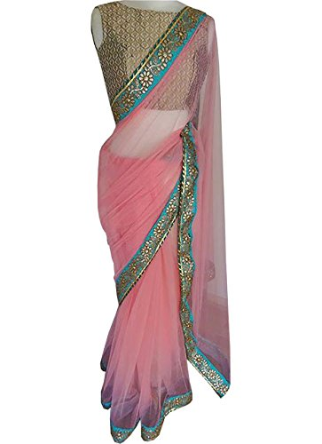 Isha Enterprise Nylon Net Light Pink Multi Work Designer Saree