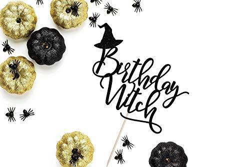 Cake Topper Birthday Witch Halloween Halloween Decor Halloween Party Happy Halloween Glitter Halloween Cardstock Glitter Paper (Wedding Halloween Cake Topper-designs)