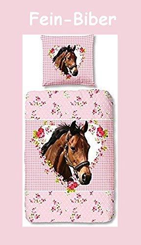 Aminata Kids - Fein-Biber Kinder-Bettwäsche 135-x-200 cm Pferd-e-Motiv Sache-n 100-% Baumwolle rosa pink-e