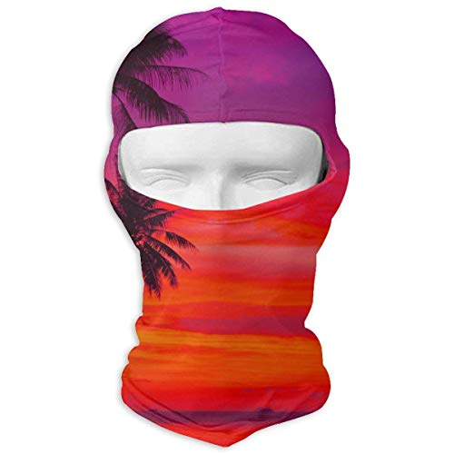Pink Orange Palm Tree Sunset Balaclava Face Mask Hood for Women Men Extra Warmth Hiking Motorcycling Neck Mask -