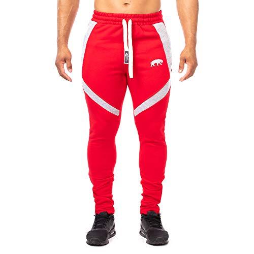 SMILODOX Slim Fit Herren Jogginghose 'Sky 2.0'  Trainingshose für Sport Fitness Gym Training   Sporthose - Jogger Pants - Sweatpants Hosen - Freizeithose Lang, Farbe:Rot/Grau, Größe:M