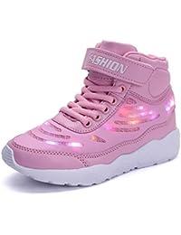GJRRX LED Zapatos Primavera-Verano-Otoño Transpirable Zapatillas LED 7 Colores Recargables Luz Zapatos de Deporte de Zapatillas con Luces para Niños Niñas