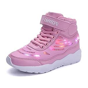 GJRRX Kinder LED Schuhe Leuchten Sportschuhe Leuchtschuhe Blinkschuhe USB Aufladen Farbwechsel Sneakers Turnschuhe für Mädchen Jungen Schwarz Grau Weiß Pink 26-36
