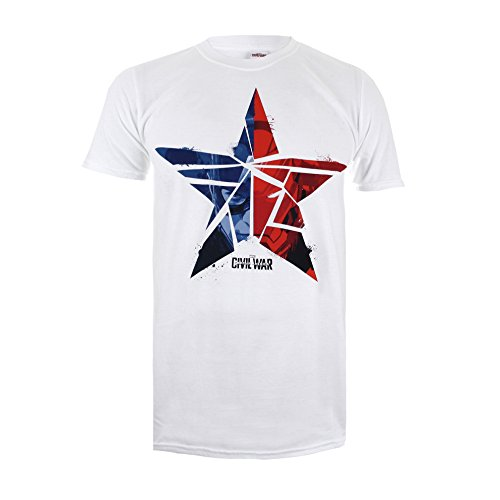 DC Comics Herren Marvel-Capt. America Civil War Broken Star-Mens T-Shirt Weiß-Weiß, xxl
