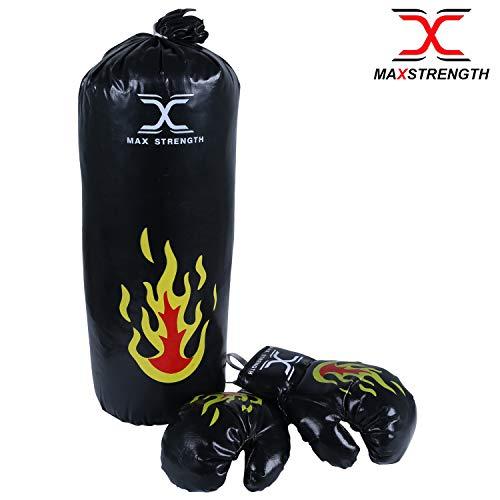 Max Strength Kinder Boxsack, gefüllt, für Kickboxen, schwere MMA-Trainingshandschuhe, Boxhandschuhe zum Aufhängen, Kette Muay Thai Kampfsport, Schwarz, 1.5ft Punch Bag with Gloves