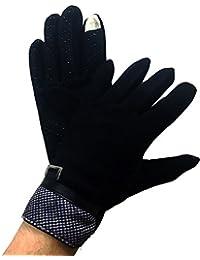 Takestop® Guantes Tela Algodón Mujer Negro antideslizante guante Touch talla 91/2con cálido Gloves Invierno Cálidos forro polar