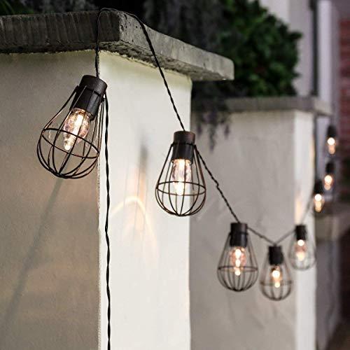 Lichterkette Außen solar,SUAVER Wasserdicht 10 LED Glühbirnen mit Metall Laterne Lichterkette,Garden Dekorative Lichter der Ambiente Vintage Lichterketten für Café