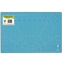 OfficeTree Set de estera para corte - 45x30 cm (A3) azul - Cuadrícula y marcas en ambos lados para un corte profesional - PVC reciblable con 5 capas superpuestas - Calidad premium