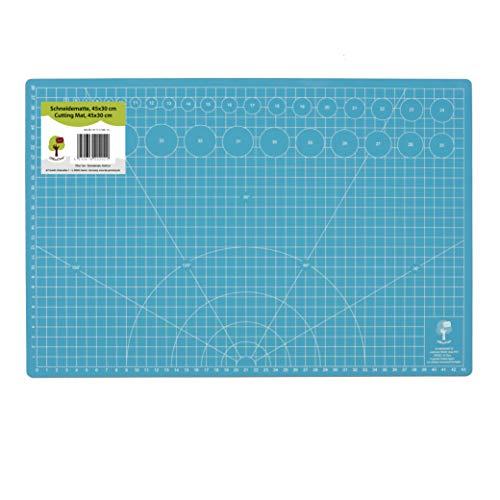 Tapis de découpe OfficeTree® Cutting Mat - 45x30 cm (A3) bleu - quadrillage et repères recto verso pour découpages professionnels - 5 couches de PVC recyclable - surface auto-cicatrisante - qualité premium
