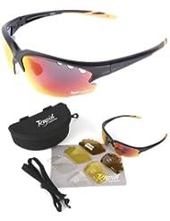 Expert Cycle schwarz Radsportbrille Wechselgläser (rot verspiegelt, klar und polarisiert), auch Joggen, Laufen, Triathlon sportbrille. UV schutz 400