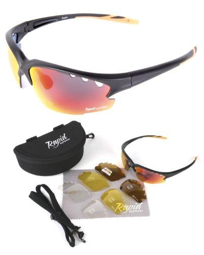OCCHIALI DA SOLE CICLISMO 'Expert Cycle' (Nero) con lenti INTERCAMBIABILI, ventilate rosse, POLARIZZATE. Adatti per corsa, tiro, arrampicata. Per uomini e donne. Protezione