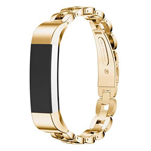 BZLine® Armband für Fitbit Alta HR und Fitbit Alta, Verstellbarer Metall Edelstahl Ersatz Band mit Klassischer Verschluss für Fitbit Alta Armband zur Herzfrequenz-und Fitnessaufzeichnung (Gold)