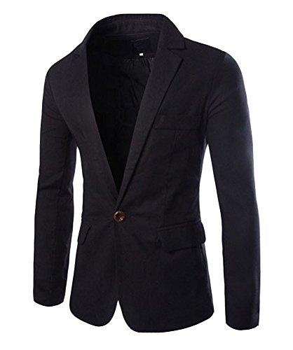 Herren Sakko Blazer Freizeit Business Jacke Anzugsjacke Herren Slim fit Blazer Sakko Jacket Jacke Anzugsjacke Schwarz S