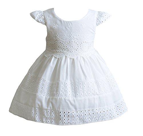 Cinda Baby Mädchen Kurzschluss Hülsen Baumwoll Sommer Kleid Partei Kleid Elfenbein 68-74