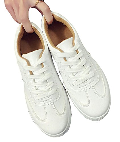 80fe80de0608bd PERFECY& Fashion Summer Sneakers Women Causal Shoes Platform Creepers Shoes  Basket Flats White Leather Trainers Canvas