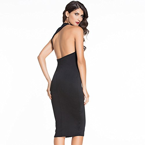 PU&PU Femmes Casual / Sortie Noir Col rond sans manches Open Back Bodycon Dress Black