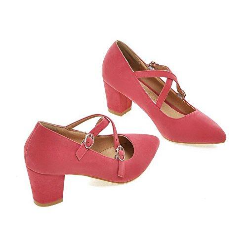 VogueZone009 Femme Pointu Boucle Suédé Couleur Unie à Talon Correct Chaussures Légeres Rose