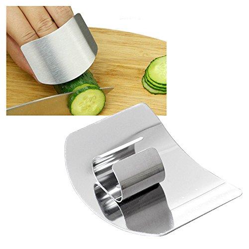 Lezed Dedo Protector Acero Inoxidable Rebanada Segura Protección Dispositivo Anti Corte para Herramienta de Cocina para Cortar Las Verduras Frutas Accesorios de Cocina (Silver)
