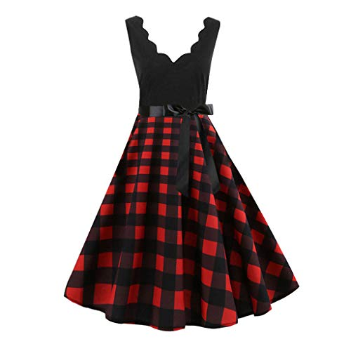 Damen Freizeitmode Gürtel Kleid ärmellos V-Ausschnitt Knie Rock mit Plaid-Print(Rot,M)