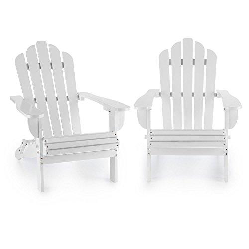 Adirondack-set (Blumfeldt Vermont Gartenstuhl 2er Set (max. 150 kg Belastung, geneigte Sitzfläche, hohe Rückenlehne, breite Armlehne, witterungsbeständig, Adirondack-Stil, Tannenholz) weiß)