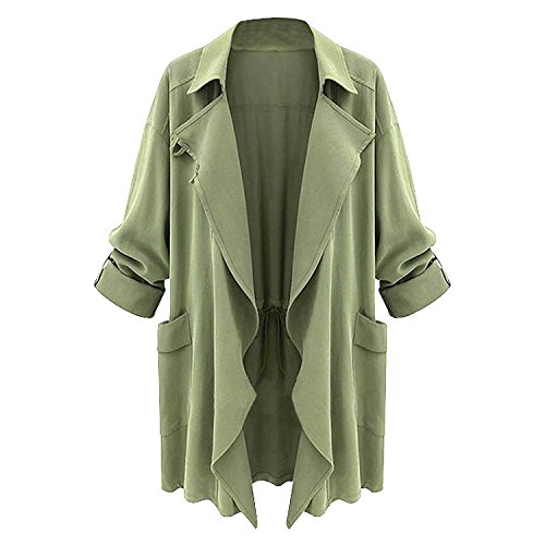 LookbookStore Damen Chiffon Tunika Shirt Blazer Bluse Jacken Cardigan Langärm 3/4 Ärm zonder Sluiting Trenchcoat DE 36