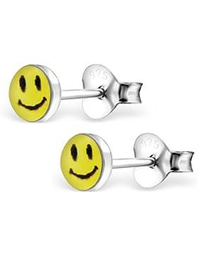 Bungsa© Smiley Kinder-Ohrstecker .925 ECHTSILBER 6mm gelb Emoji lachendes Gesicht Zunge lächeln (Ohrringe Echtschmuck...