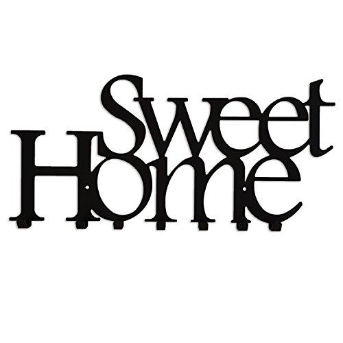 Appendini per abbigliamento con 7 ganci appendiabiti da muro in metallo attaccapanni sweet home nero