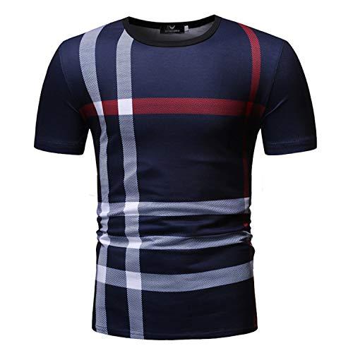 Summer Men's T-Shirt Round Neck Plaid Short Sleeve Shirt colour1 XL,Unisex 3D Printed Tops Tees Casual Short Sleeve T Shirts for Men Women Mens T Shirts -
