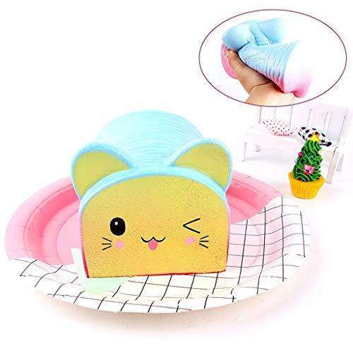 Mitlfuny Kawaii Langsam Dekompression Creme Duftenden Groß Squishy Spielzeug Squeeze Spielzeug, Regenbogen Katzenkopf Brot Langsam Rebound Dekompressionsventile für Kinder