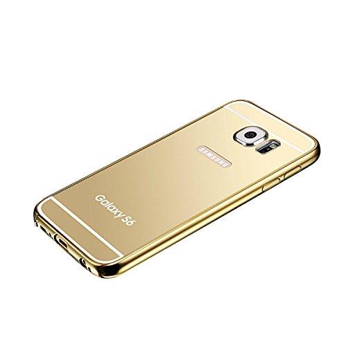 Fenrad oro lusso ultra-slim alluminio metallo specchio back cover bumper mirror case custodia skin per samsung galaxy s6 g9200 --oro