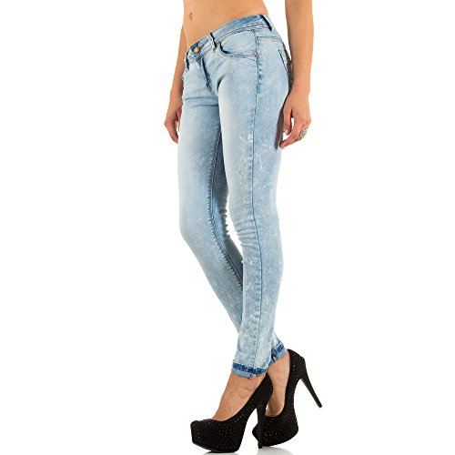 Damen Jeans, USED LOOK HÜFT SKINNY JEANS, KL-J-PTL-S1955 Blau