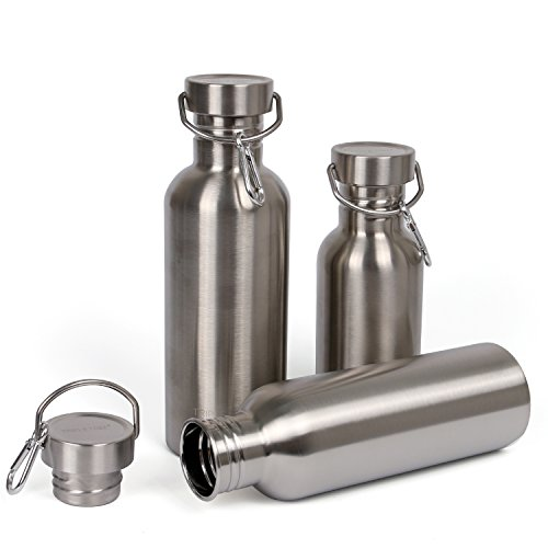 Edelstahl Trinkflasche 1L/750ml/500ml BPA Frei Trinkflasche Auslaufsichere für Outdoor Wandern Fahrrad (750ml/26oz)