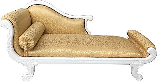 Casa Padrino Barock Chaiselongue Modell XXL Gold Muster/Weiß - Recamiere Wohnzimmer Möbel -